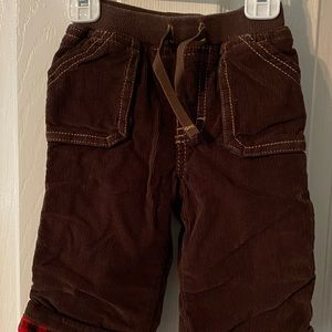 Old navy 6-12 months flannel lined brown corduroys